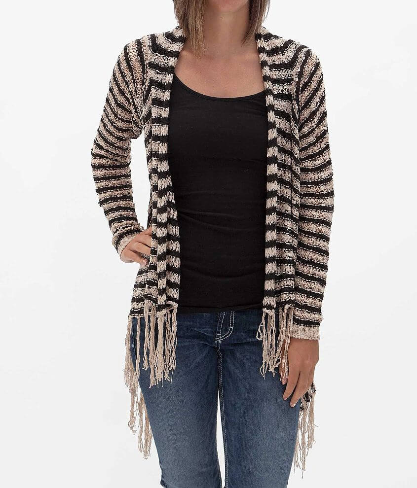 Say What Striped Cardigan Sweater front view