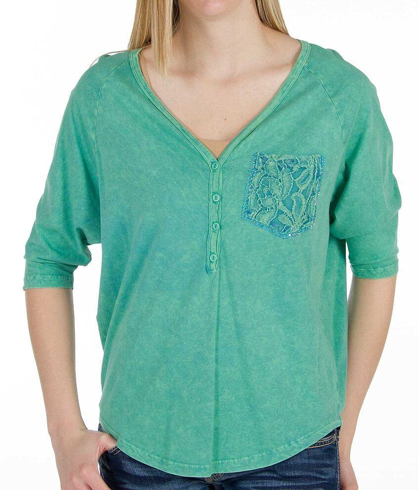 Daytrip Dolman Henley T-Shirt front view