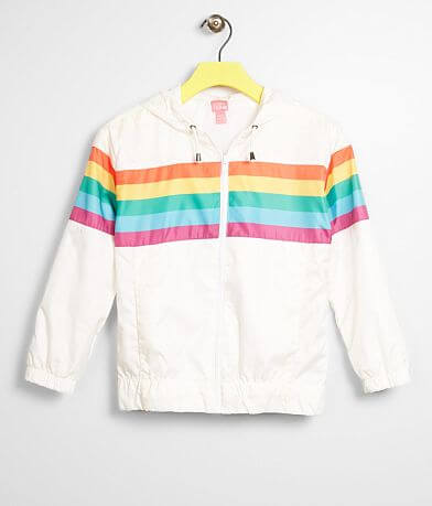 Girls - Say What? Rainbow Stripe Hooded Jacket