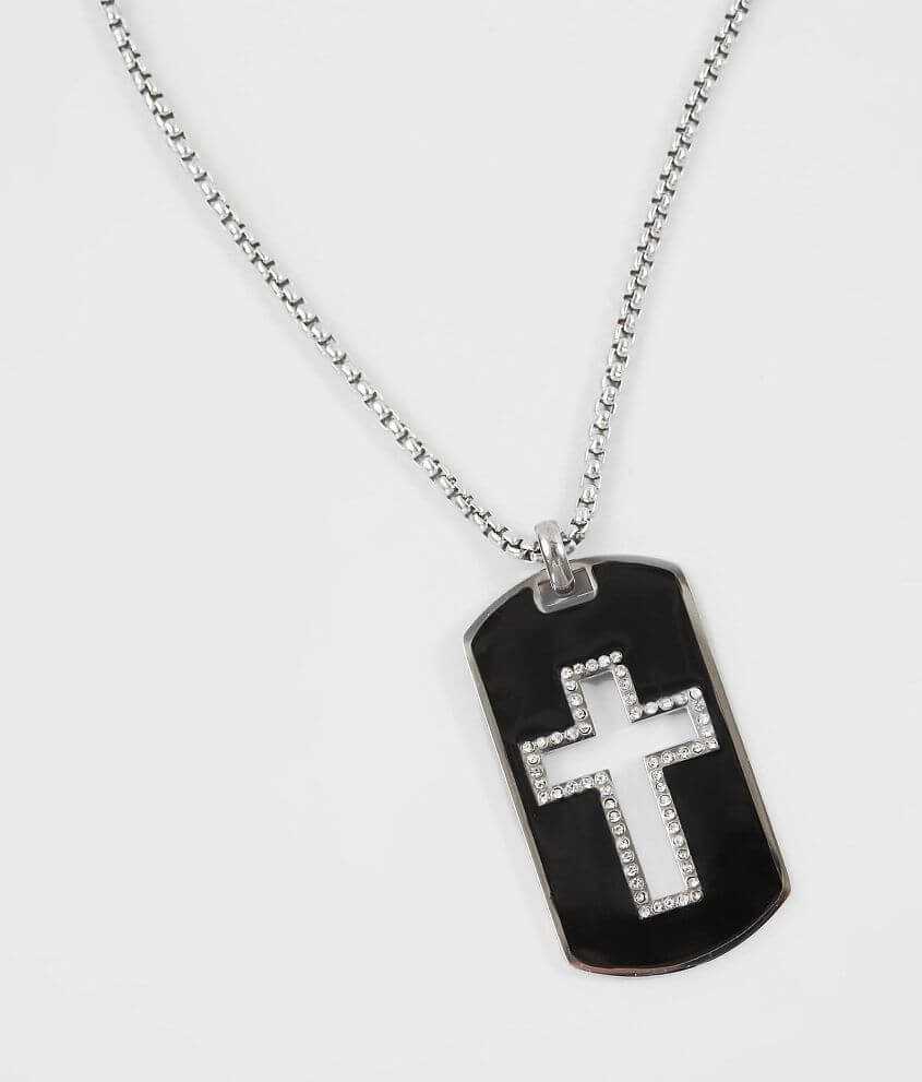 American Exchange Diamond Cross Dog Tag Necklace