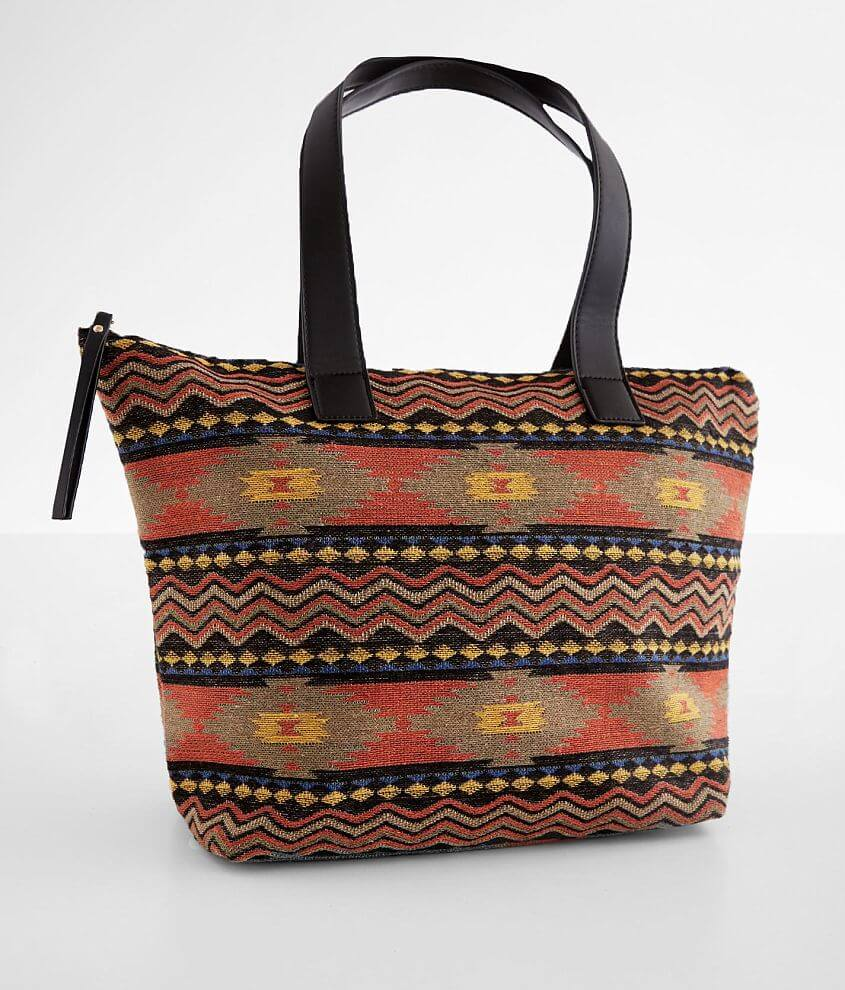 Weaved canvas lined tote Zipper closure Interior zipper and two pouch pockets Dimensions: 17 1/2\\\