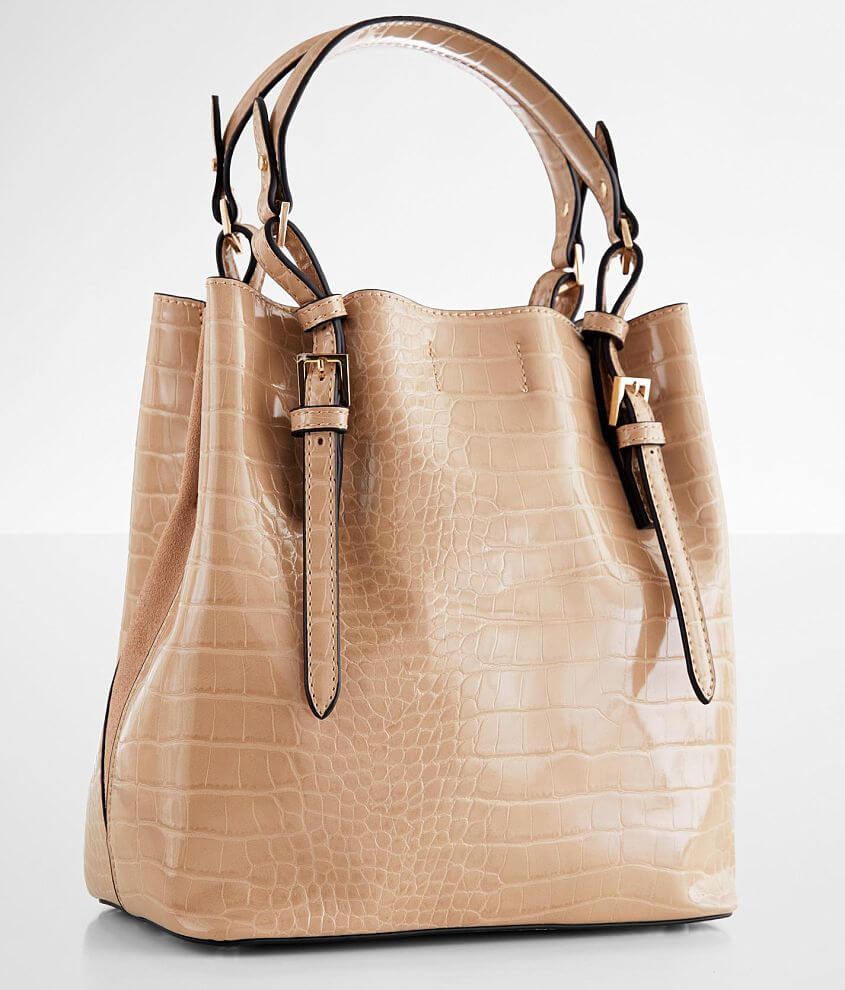 Moda Luxe Faux Crocodile Structured Purse front view