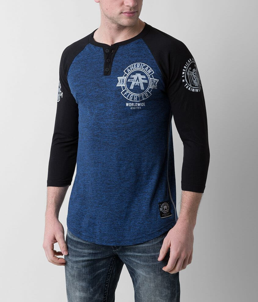 American Fighter Silver Lake Henley front view
