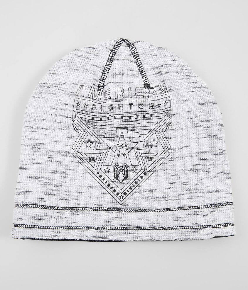 Graphic marled knit raw edge beanie Graphic on solid reverse One size fits most