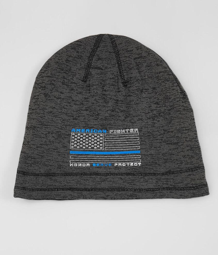 Graphic mock twist knit beanie Graphic on solid reverse Raw edge details One size fits most 10% of American Fighter\\\'s proceeds from the sale of this garment goes to benefit the heroes that sacrifice to protect us