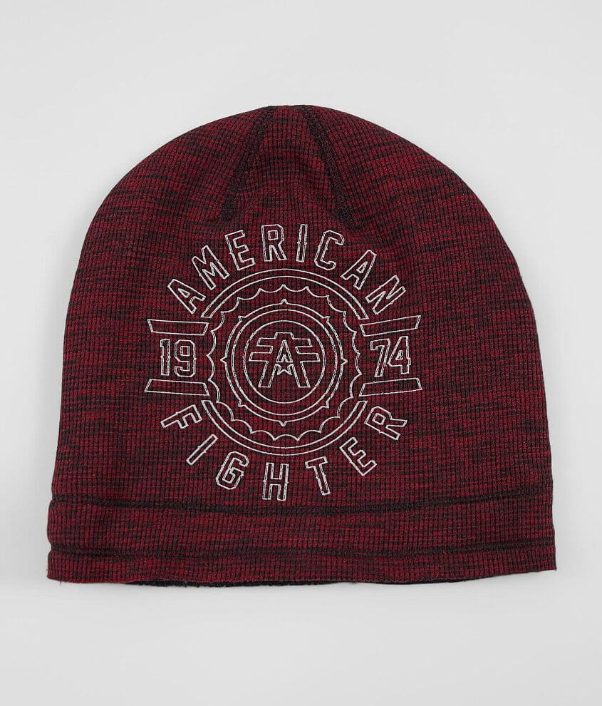 Graphic marled knit beanie Graphic on reverse Raw edge details One size fits most
