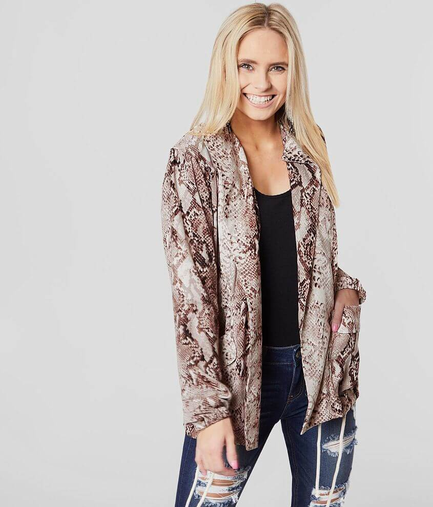 Band Of Gypsies Snakeskin Hooded Jacket front view