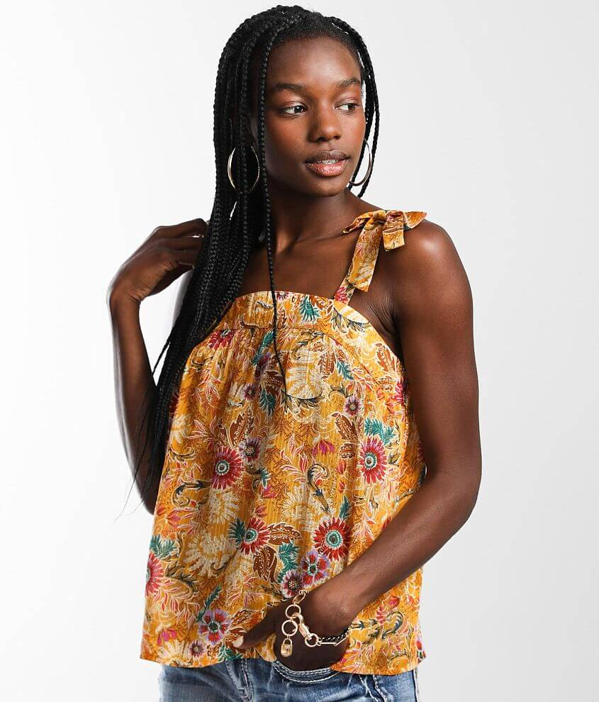 Willow & Root Metallic Floral Tank Top front view