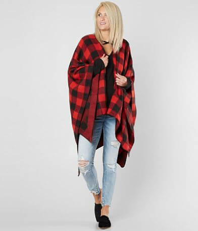 29 Palms Buffalo Check Ruana Poncho
