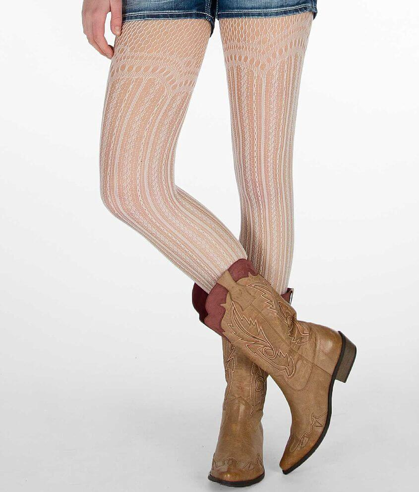 Modern Heritage Floral Scallop Tights front view