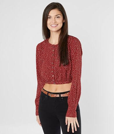 Amuse Society Isn't She Charming Cropped Blouse