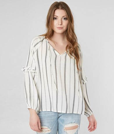 Amuse Society Striped Ruffle Top