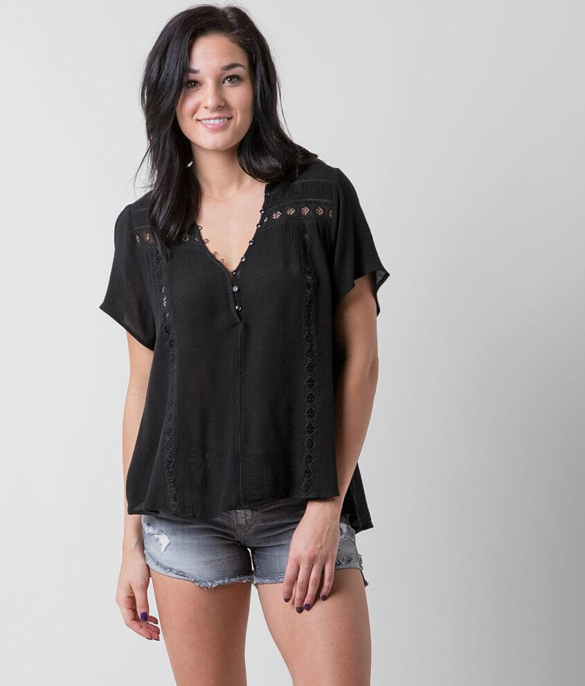 Amuse Society Crimson Henley Top front view