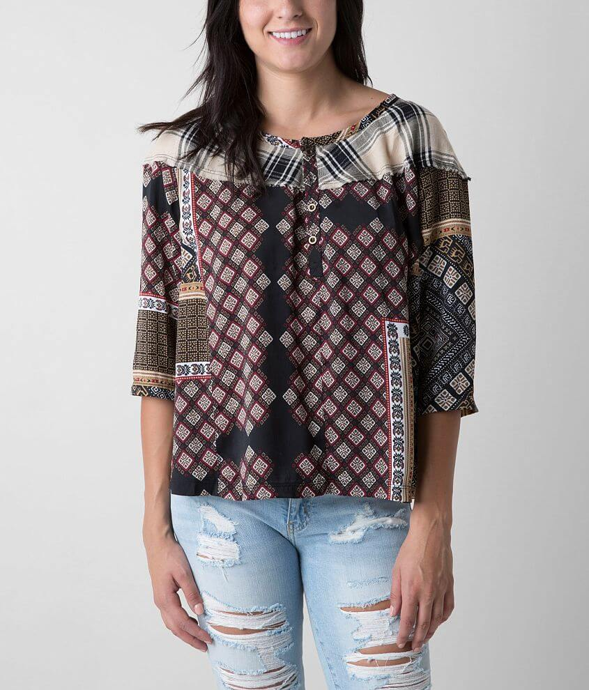 Anama Printed Henley Top front view