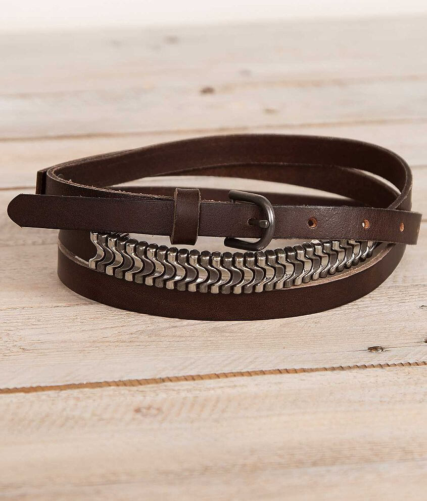 BKE Two Strap Leather Belt front view