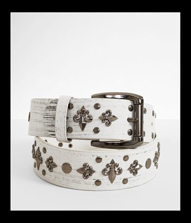 B Icon Studded Fleur Leather Belt