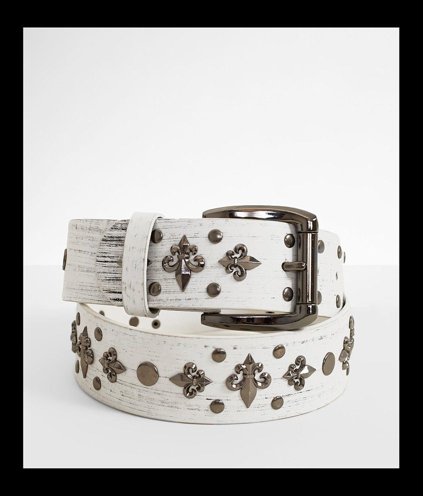 B Icon Studded Fleur Leather Belt front view