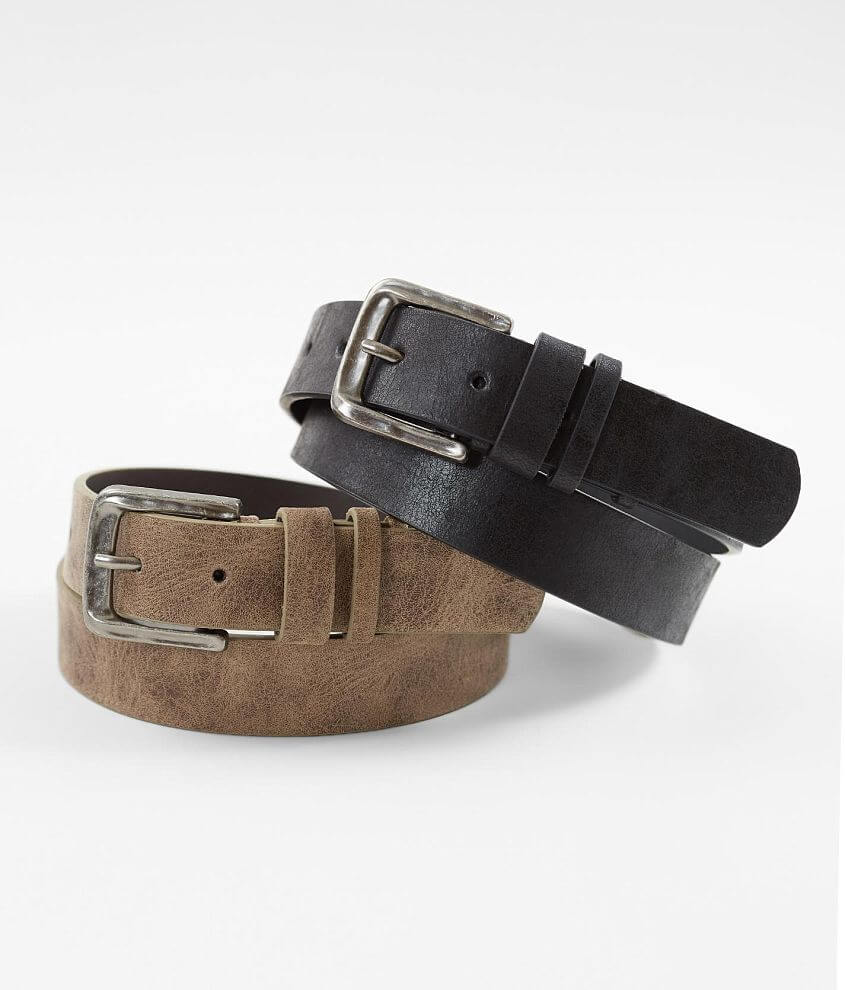 BKE Two Pack Distressed Leather Belts front view