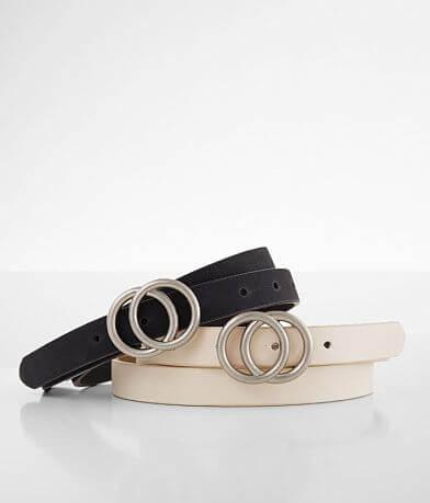 BKE Solid Skinny Belt Set