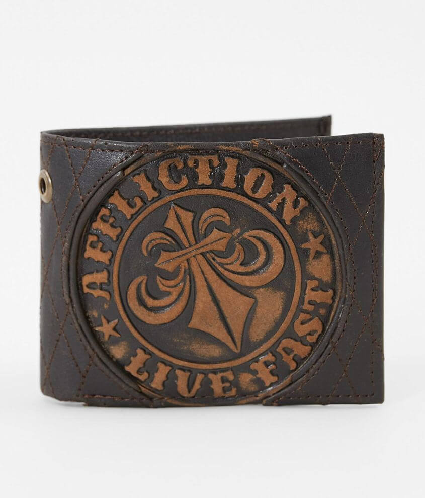 Affliction Embossed Leather Wallet front view