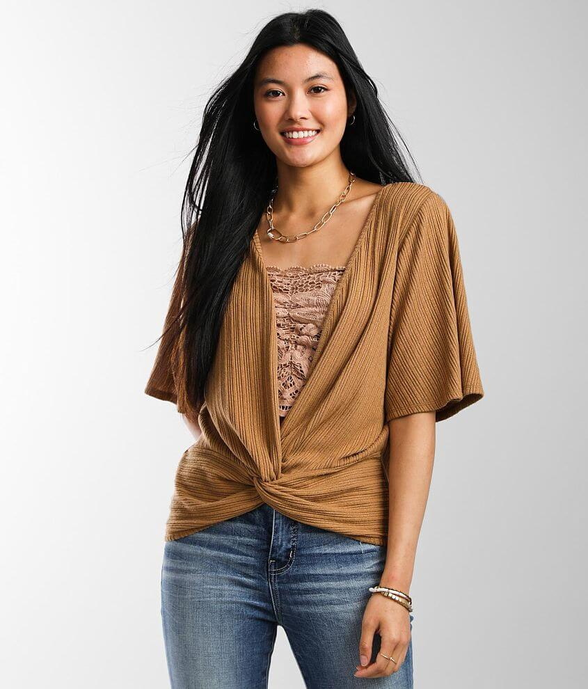 Daytrip Brushed Knit Ribbed Top front view