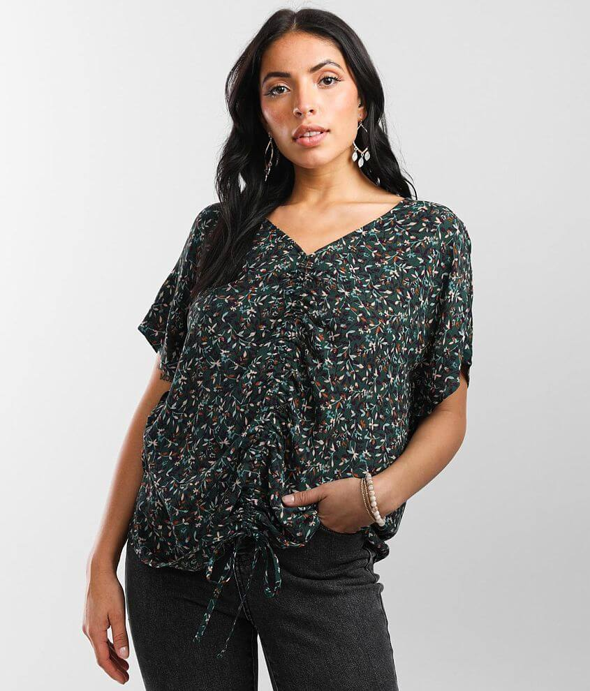 Daytrip Floral Woven Top front view