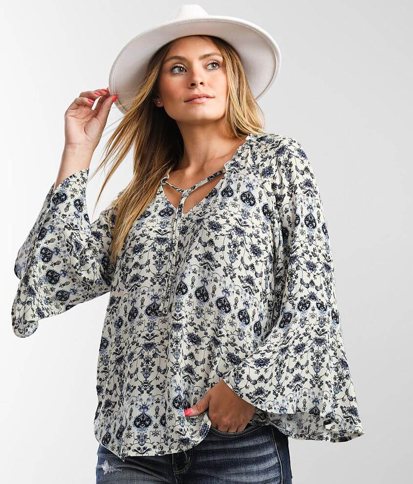 Daytrip Floral Medallion Peasant Top front view