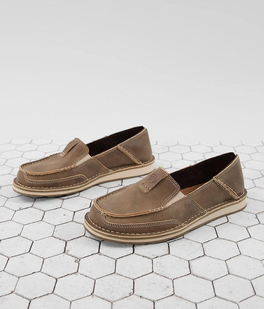 Pieced leather slip-on shoe Elasticized insets Memory foam cushioned insole EVA midsole for shock absorption Duratread® outsole provides maximum wear resistance