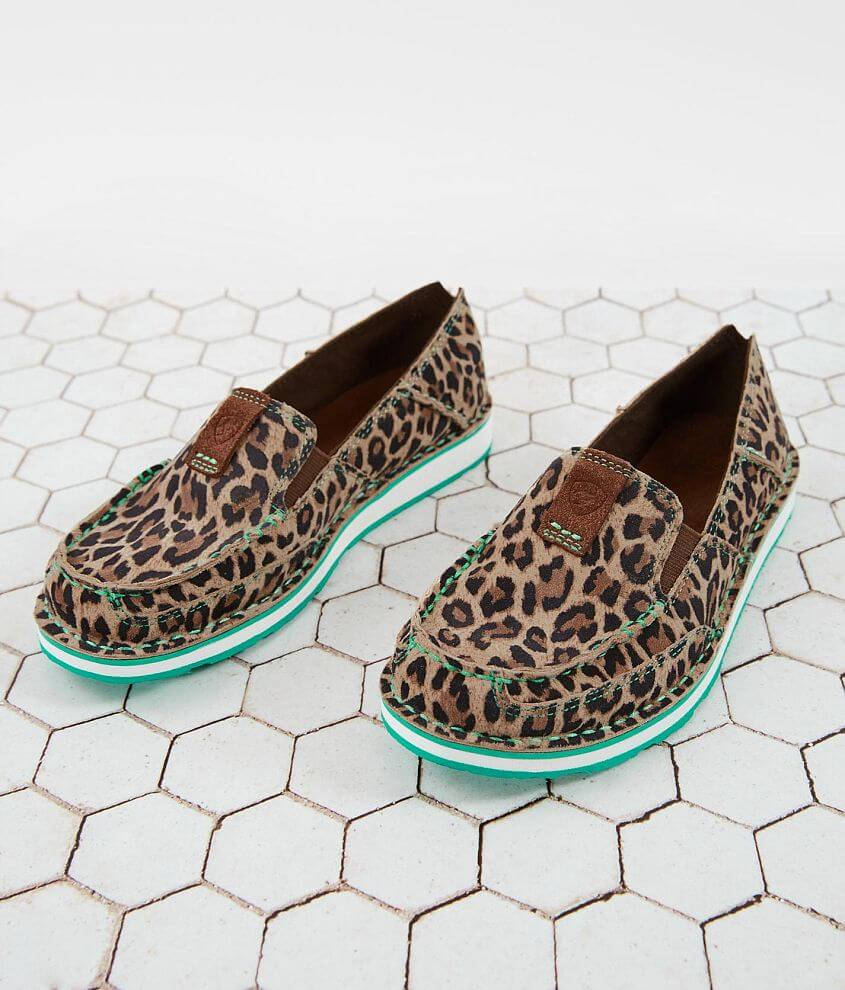 Printed leather elasticized slip-on shoe Memory foam cushioned insole EVA midsole for shock absorption Duratread® outsole provides maximum wear resistance