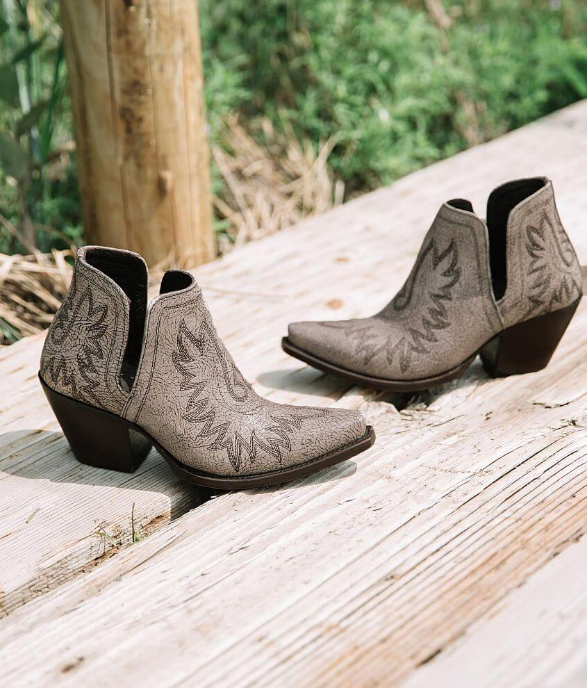 Embroidered leather pull-on bootie 4\\\