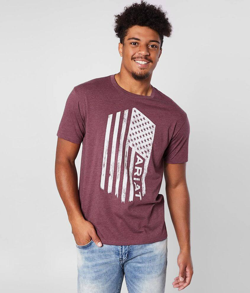 Distressed flag graphic heathered t-shirt Model Info: Height: 6\\\'4 1/2\\\