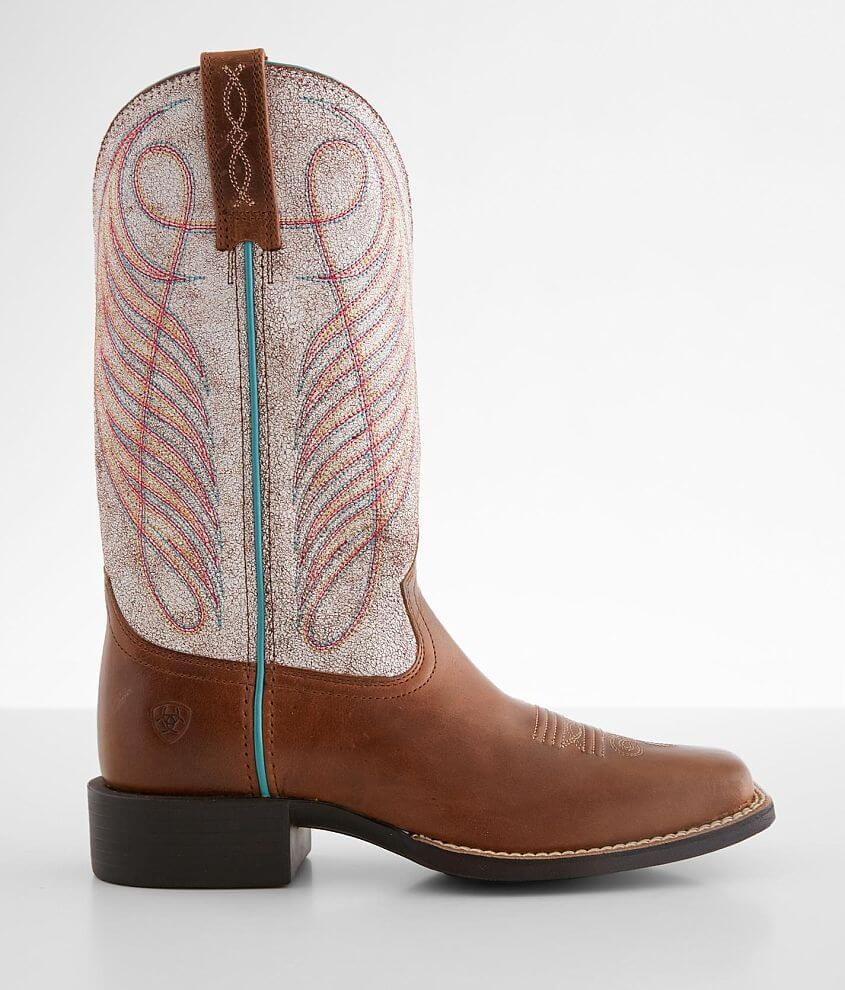 Ariat Round Up Embroidered Leather Western Boot front view