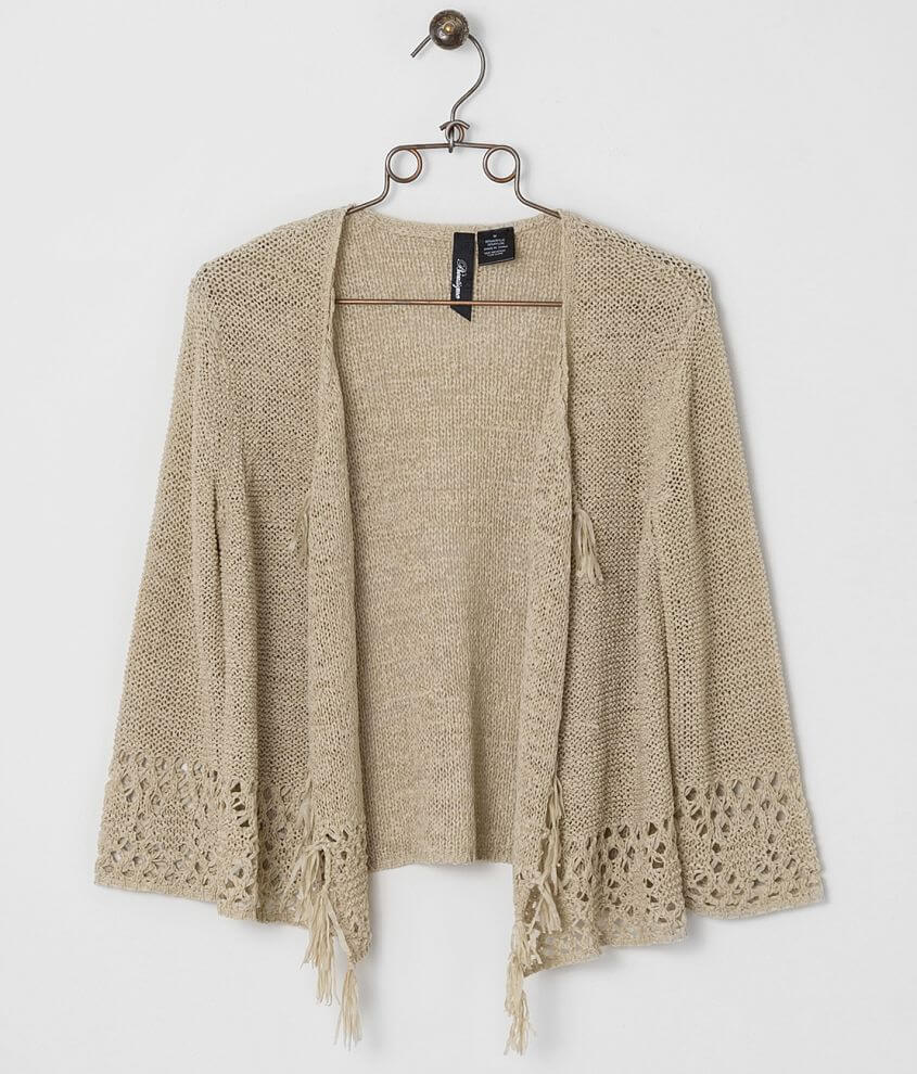 BKE Boutique Tape Yarn Cardigan Sweater front view
