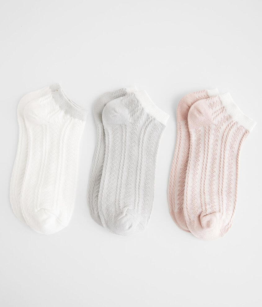 BKEssentials 3 Pack Mini Cable Knit Socks front view