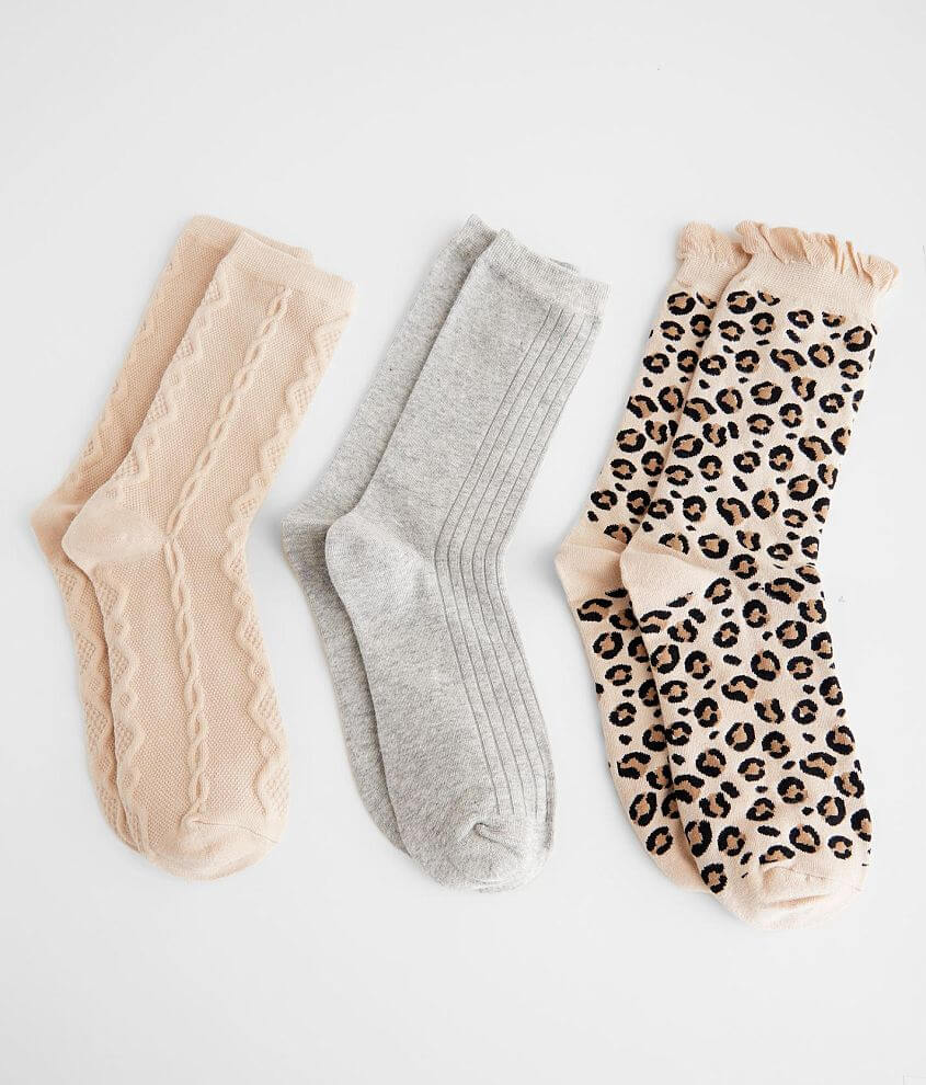 BKEssentials 3 Pack Assorted Crew Socks front view