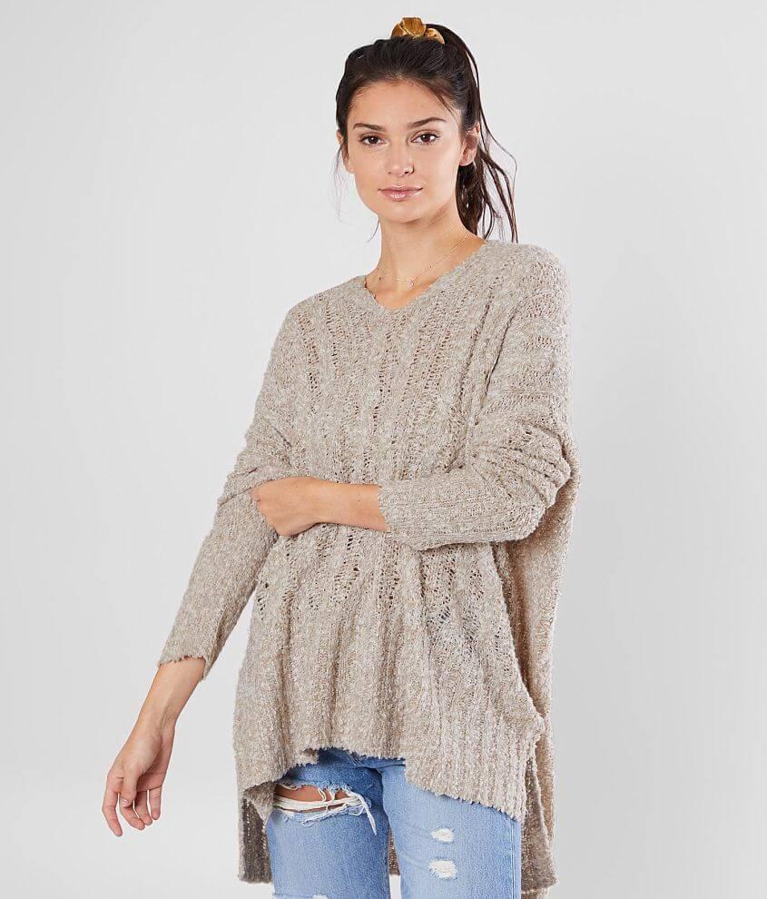 Open weave drop shoulder v-neck sweater Bust measures 54\\\