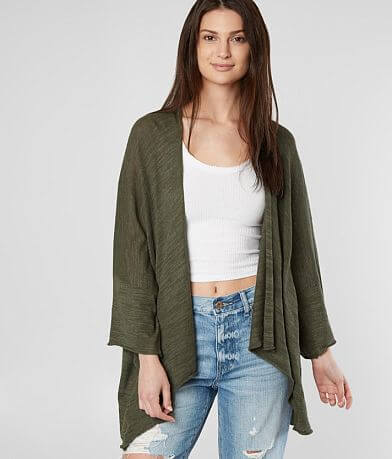 Solutions Semi-Sheer Slub Knit Cardigan Sweater