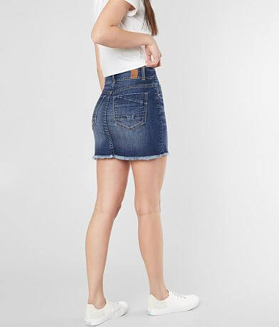 BKE Frayed Denim Stretch Skirt
