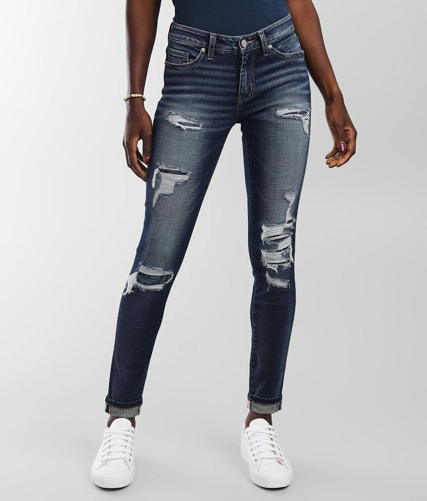 BKE Stella Mid-Rise Ankle Skinny Cuffed Jean front view
