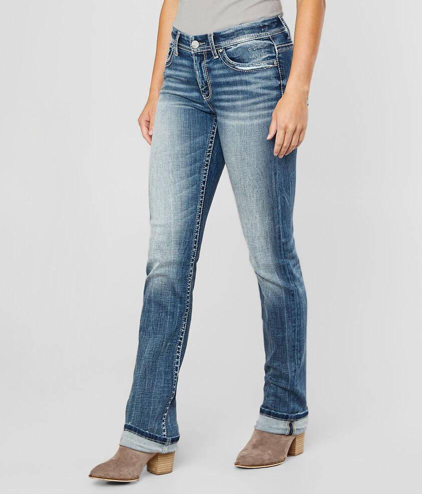 "Ladies 12-28 Blue Denim Wash Straight Leg Jean 29/"" Leg Womens Stretch Denim"