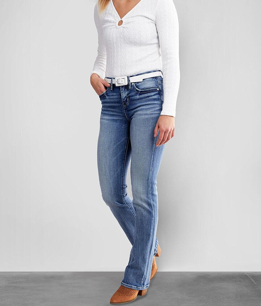 Buckle Black Curvy Tailored Boot Stretch Jean front view
