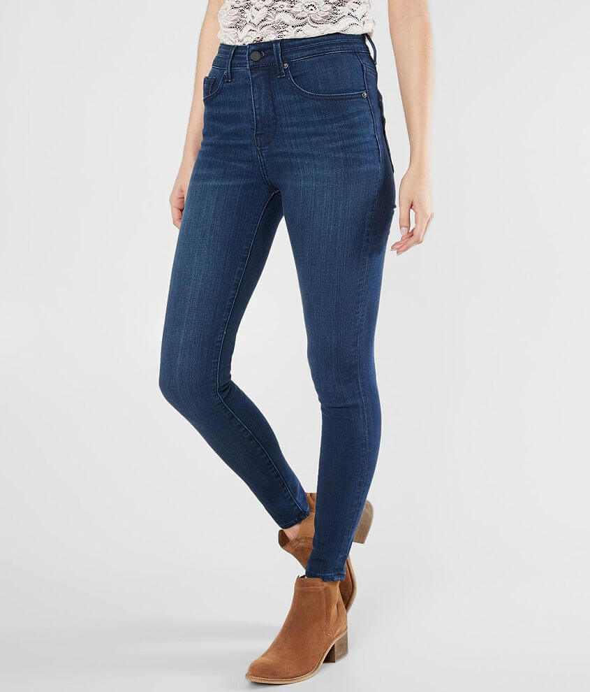Buckle Black Sculpted High Rise Ankle Skinny Jean front view