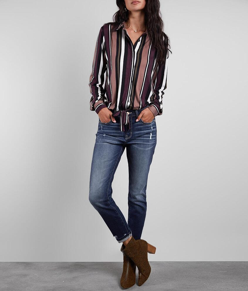 Buckle Black Girlfriend High Rise Stretch Jean front view