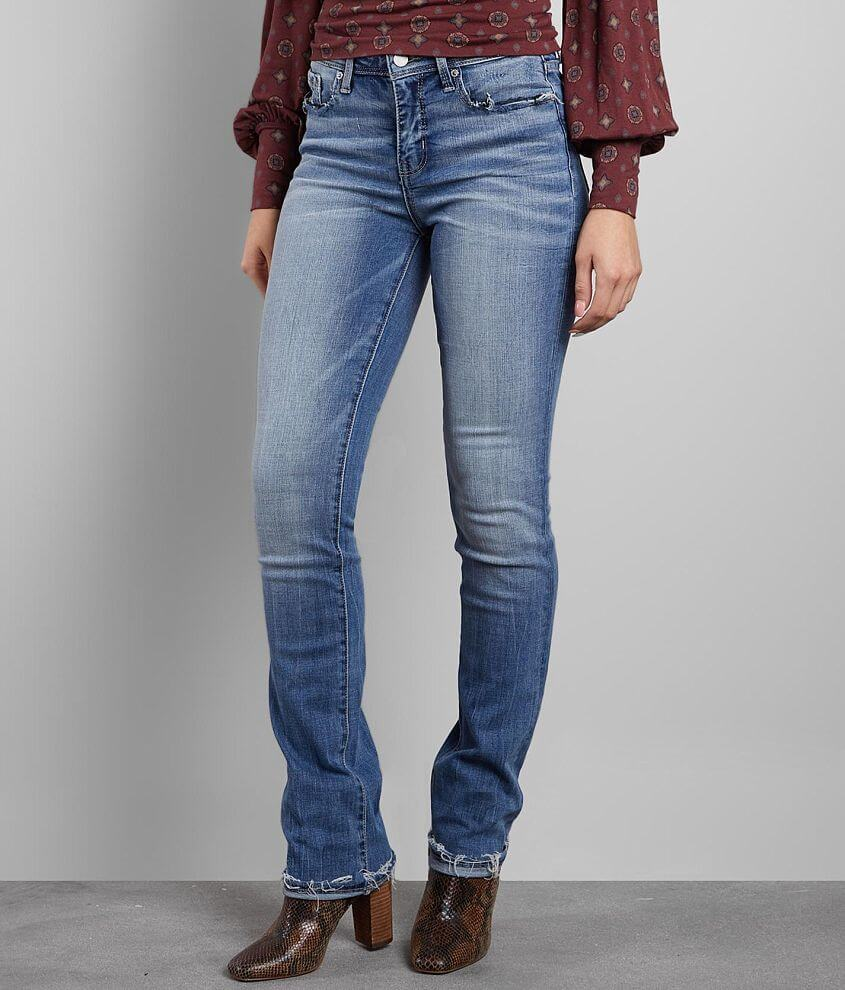 Buckle Black Curvy Mid-Rise Straight Stretch Jean front view