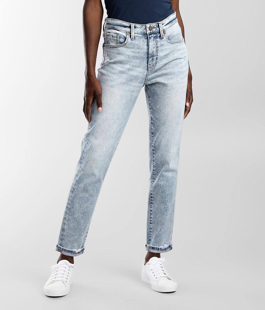 Buckle Black Mom Cuffed Jean front view