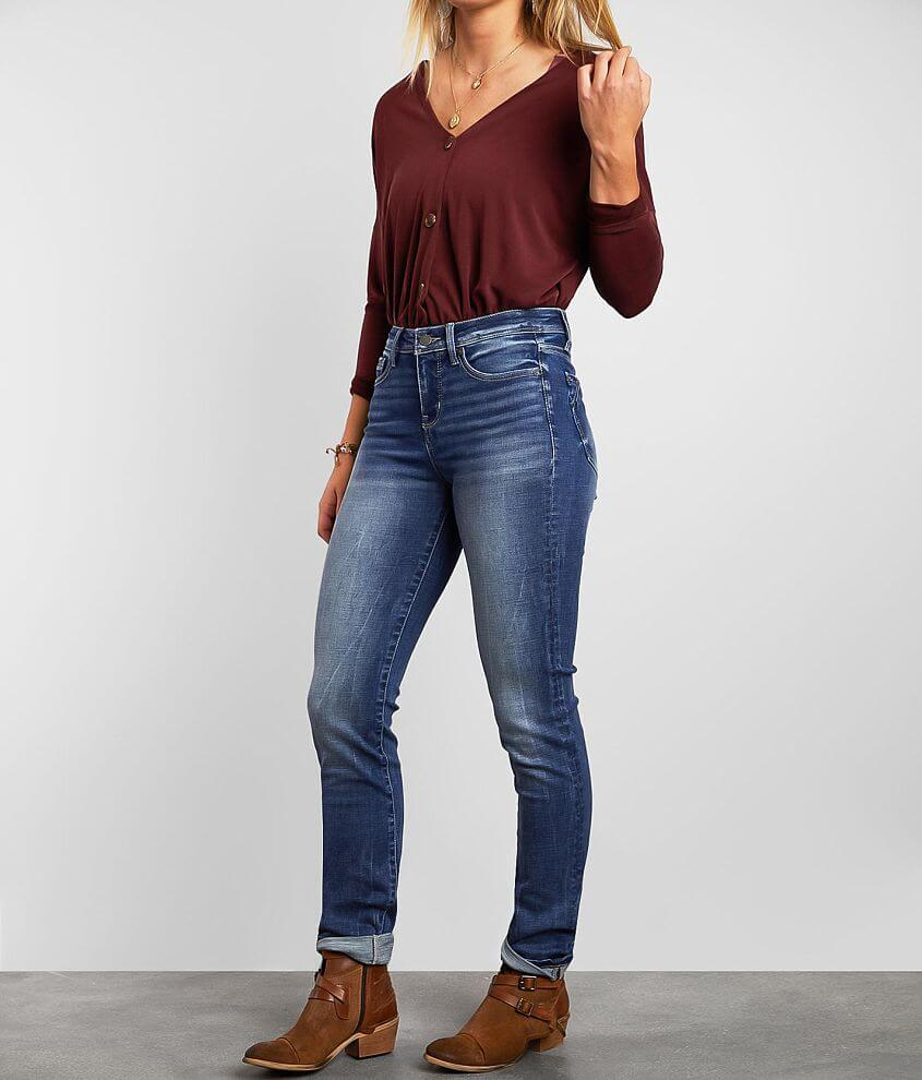 Buckle Black Curvy Mid-Rise Straight Cuffed Jean front view