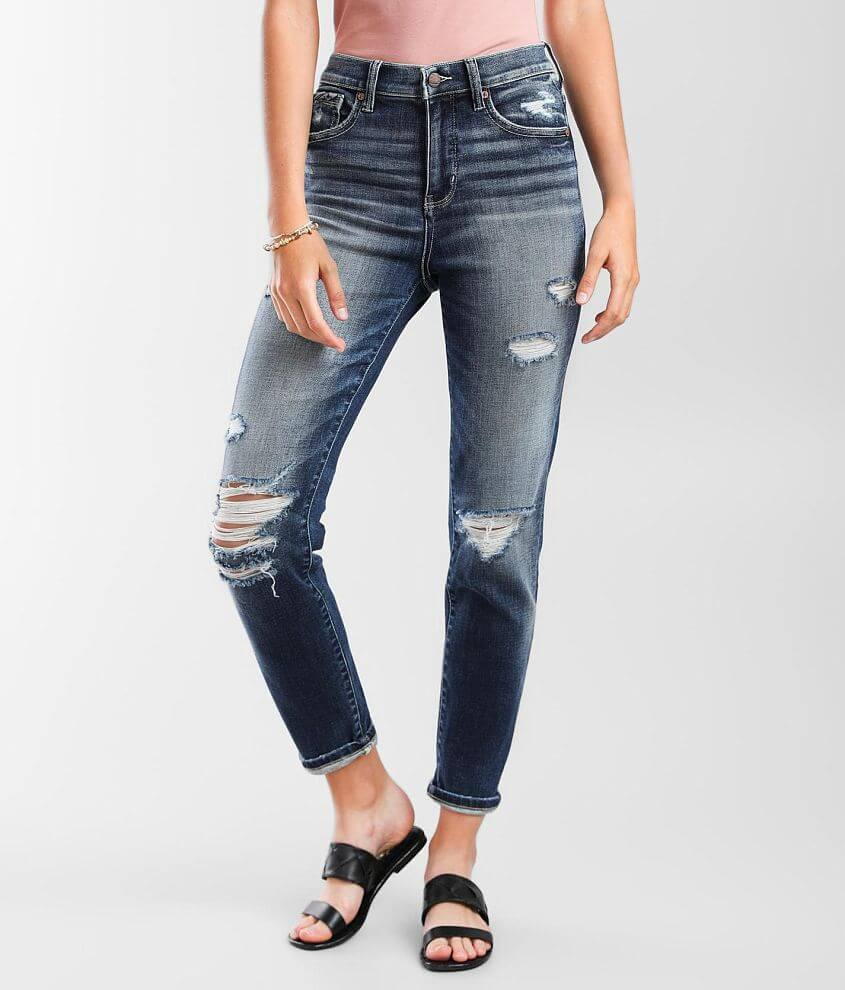 Buckle Black Mom Jean front view