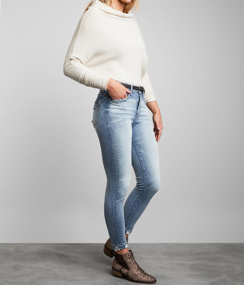 Buckle Black Curvy Mid-Rise Ankle Skinny Jean front view