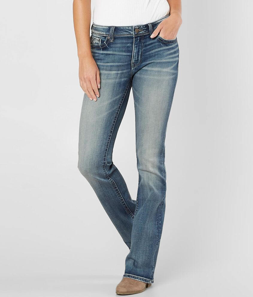 Fit No. 76/Curvy - Our curvy fit is offered in a range of sizes. This fit is engineered to have a slightly higher rise and a contoured waistband with extra room through your hip and thighs. This is a jean you\\\'ll want to wear over and over again! Comfort Stretch (Low Stretch) - Classic denim that has just enough stretch that will only make it fit better over time. Style BBW1604/Sku 131884, 131885, 131886, 131887 Mid-rise zip fly stretch jean Curvy fit, eased through the hip and thigh 17\\\