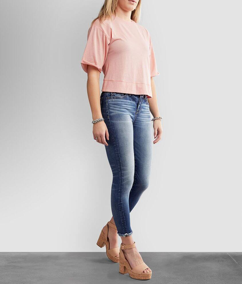 Buckle Black Curvy Mid-Rise Ankle Cuffed Jean front view